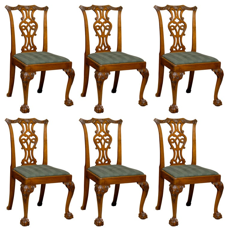 ... of 6 Chippendale Style Mahogany Dining Chairs, ca. 1890. at 1stdibs