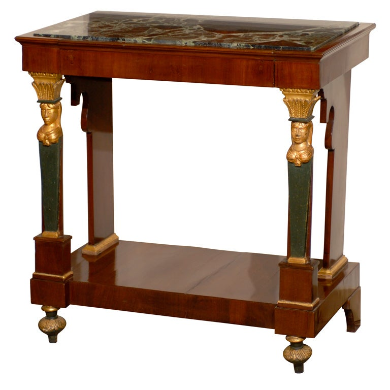 petite empire console with marble top france 19th century for sale at 1stdibs. Black Bedroom Furniture Sets. Home Design Ideas