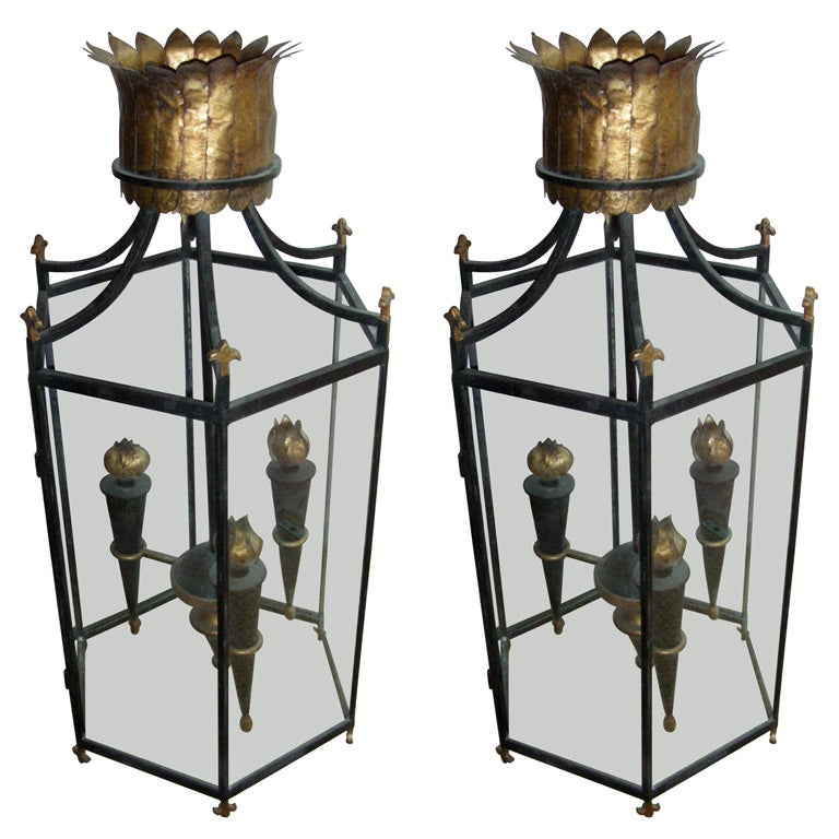 Two Large Contemporary Lanterns At 1stdibs