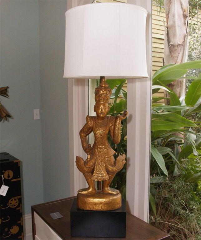 "Tall Gilt ""Thai"" Table Lamp 2"