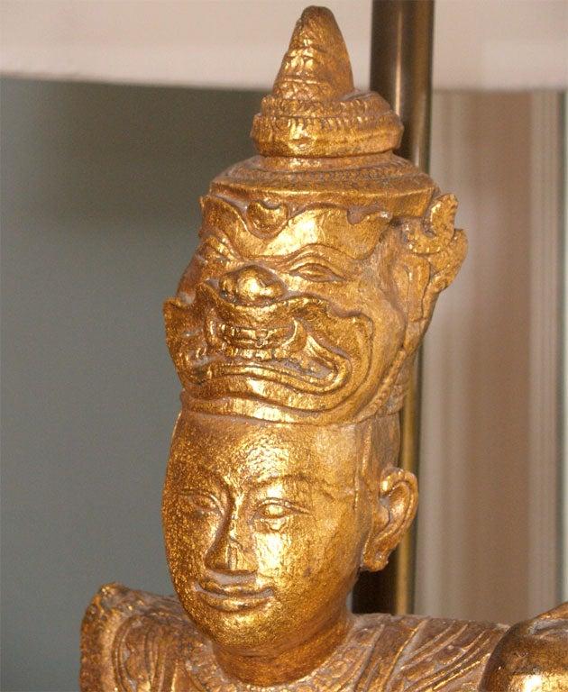 "Tall Gilt ""Thai"" Table Lamp 4"