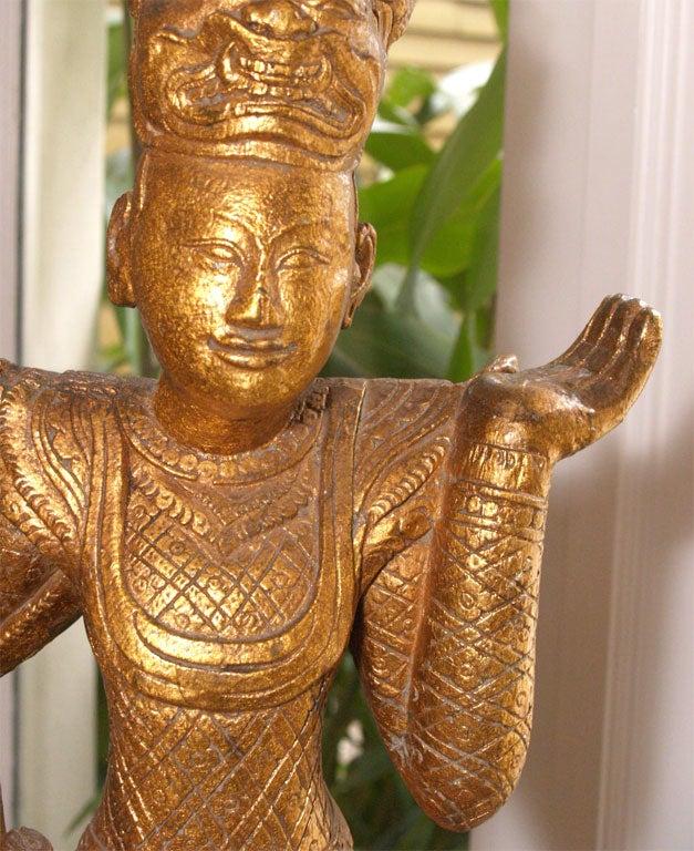 "Tall Gilt ""Thai"" Table Lamp 5"