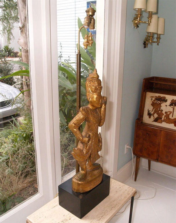 "Tall Gilt ""Thai"" Table Lamp 10"