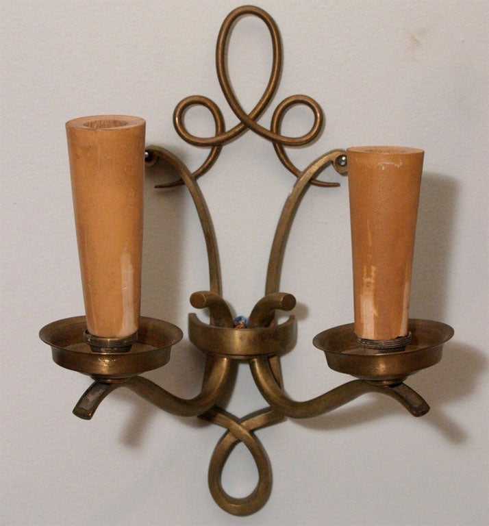 Pair of French Brass Wall Sconces at 1stdibs