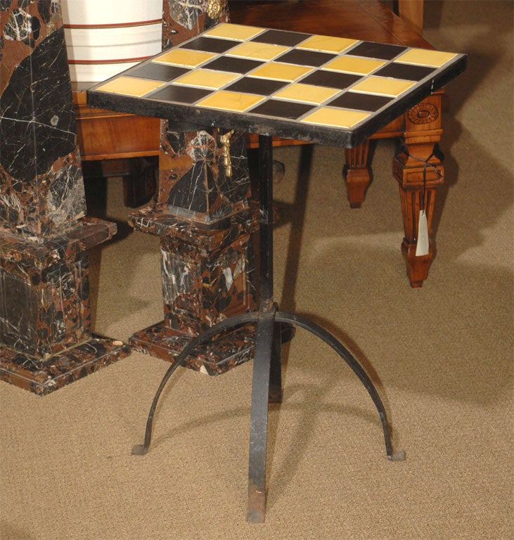 Funky Iron And Tile Table At 1stdibs