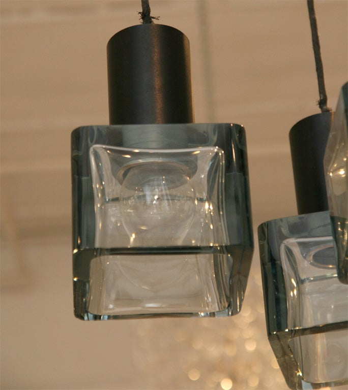 Three Blue Glass Cube Ceiling Light image 8