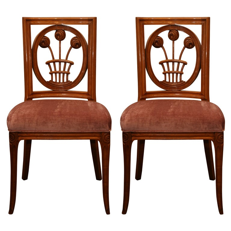 Fine And Rare Pair Of Early Art Deco Chairs By Andr Groult At 1stdibs