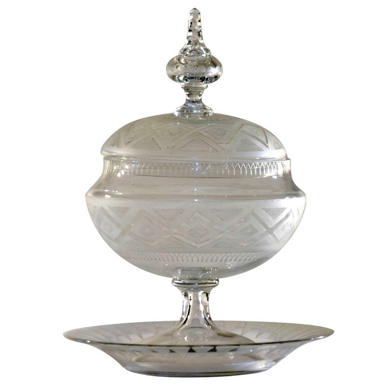 19th C. English Wheelcut Crystal Sweetmeat/Tureen with Underplate