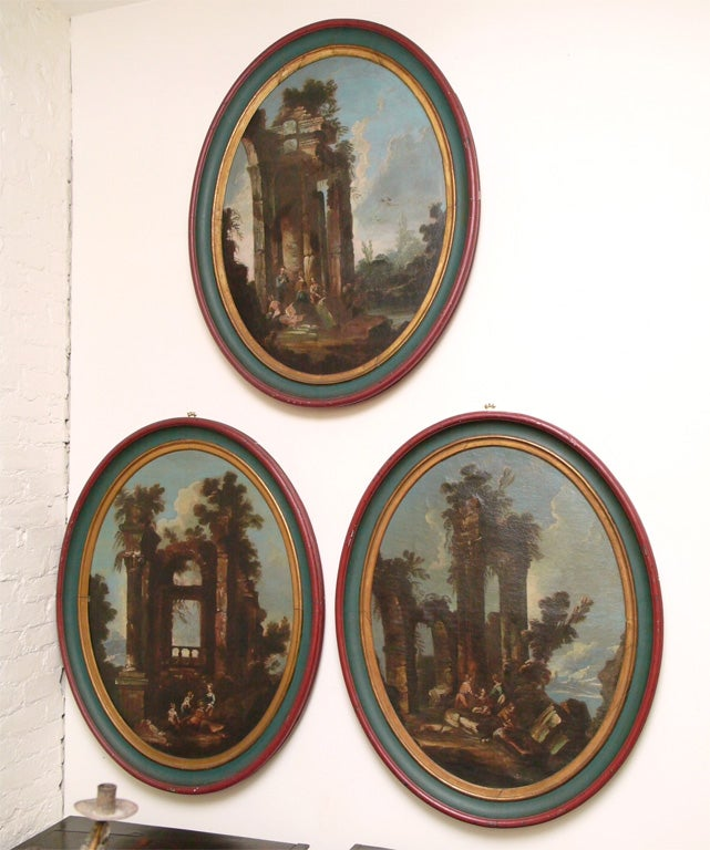 Late 17th c Early 18th c Oval Oil on Canvas of ruins scenes. In original frames that have been refreshed.