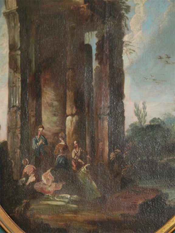 18th Century and Earlier SET OF THREE ITALIAN OVAL OIL ON CANVAS For Sale
