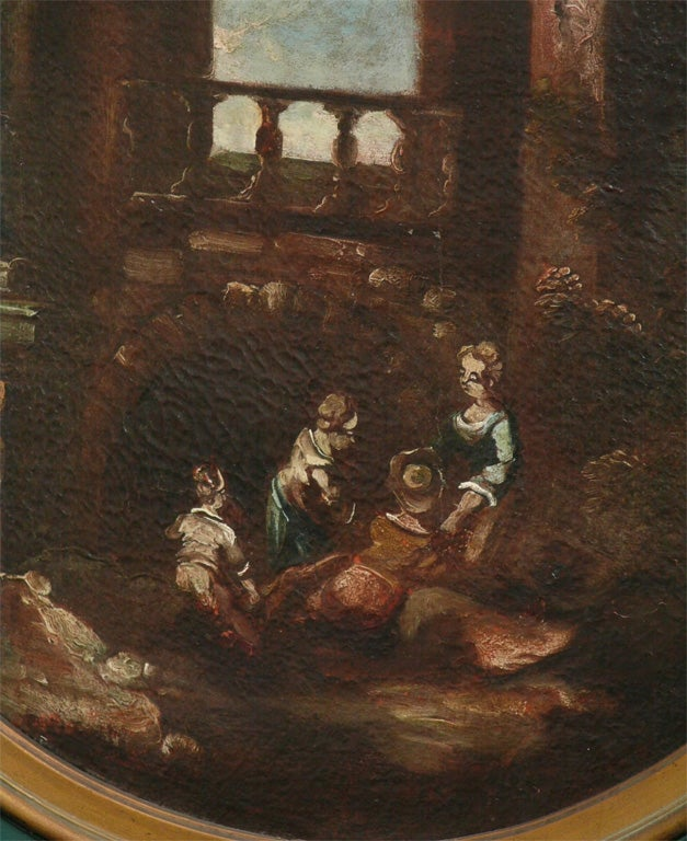 SET OF THREE ITALIAN OVAL OIL ON CANVAS For Sale 1