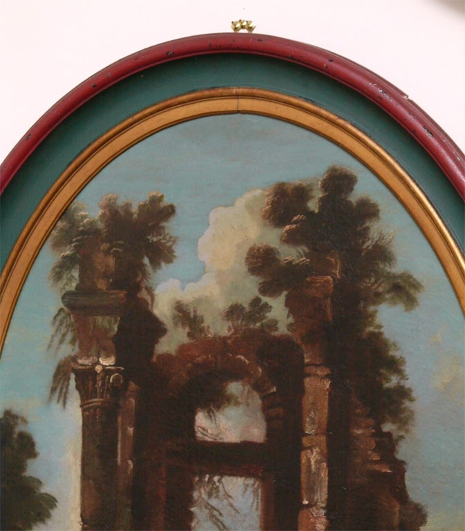 SET OF THREE ITALIAN OVAL OIL ON CANVAS For Sale 2