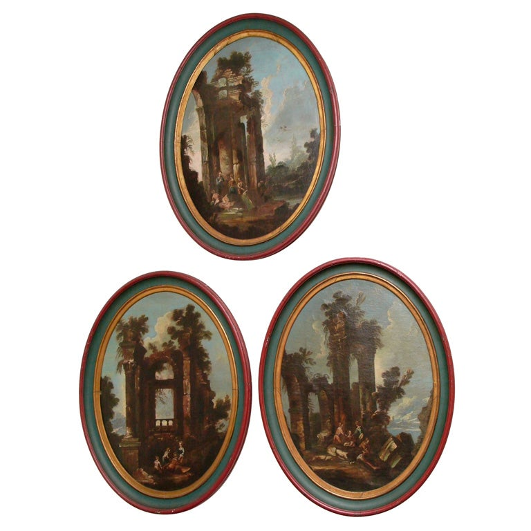SET OF THREE ITALIAN OVAL OIL ON CANVAS For Sale