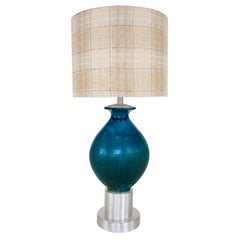 Custom Blue Glazed Table Lamp by Paul Laszlo