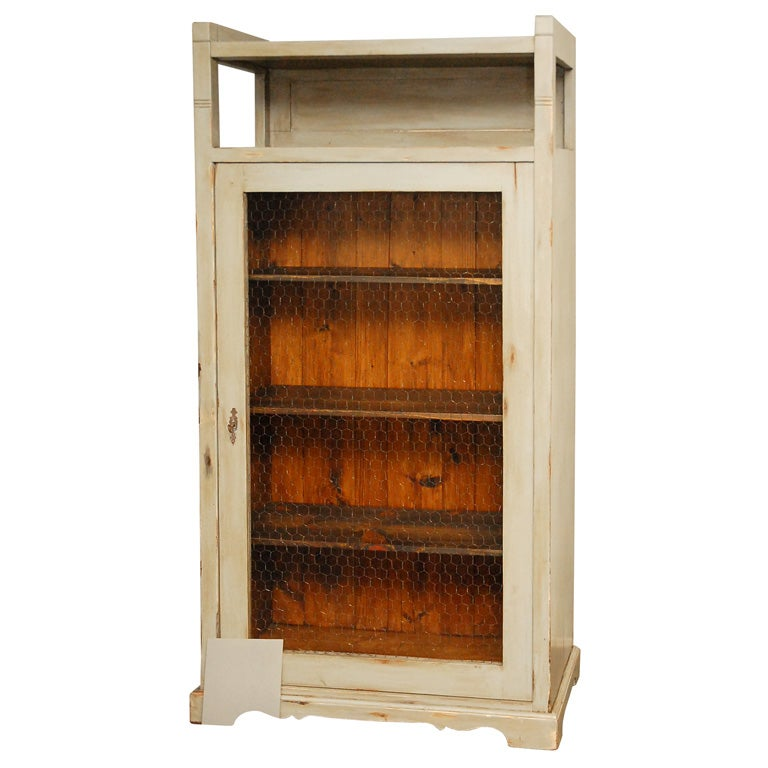 Tall Cabinet With Wire Mesh In Door 1