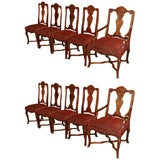 Set of ten antique French walnut upholestered dining chairs.