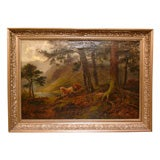 """English oil on canvas """"Highland Cattle by a Loch"""" by Louis Hurt"""