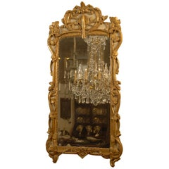 Large Transitional Louis XV-XVI Parcel-Gilt & Cream-painted Mirror, c. 1760