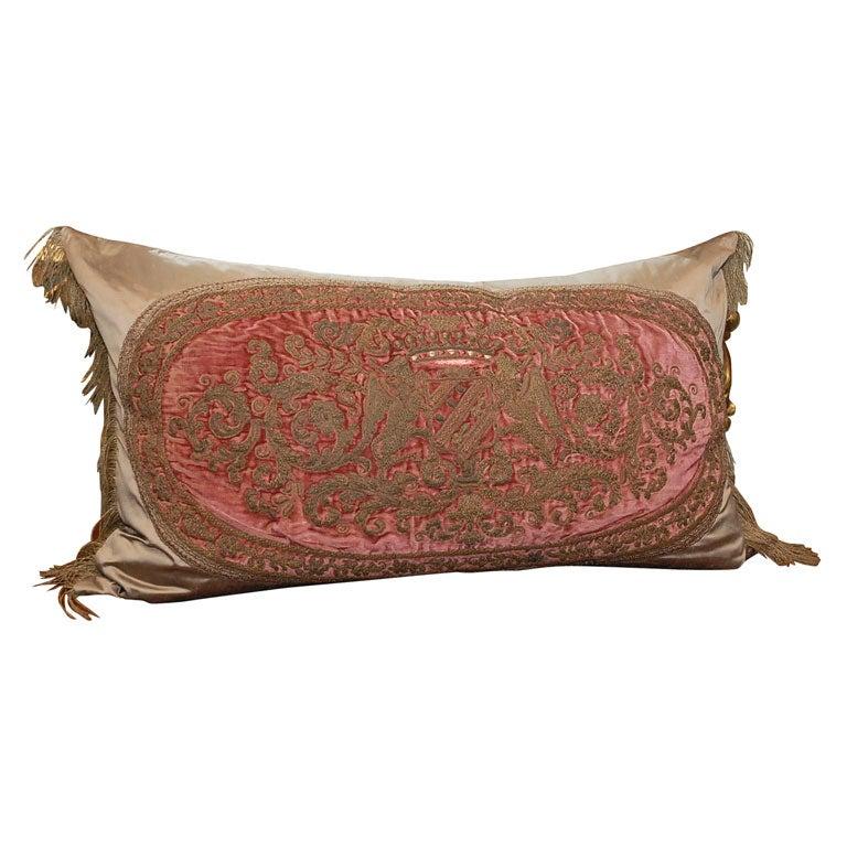 18th C Embroidered Metallic Velvet Bed Pillow At 1stdibs