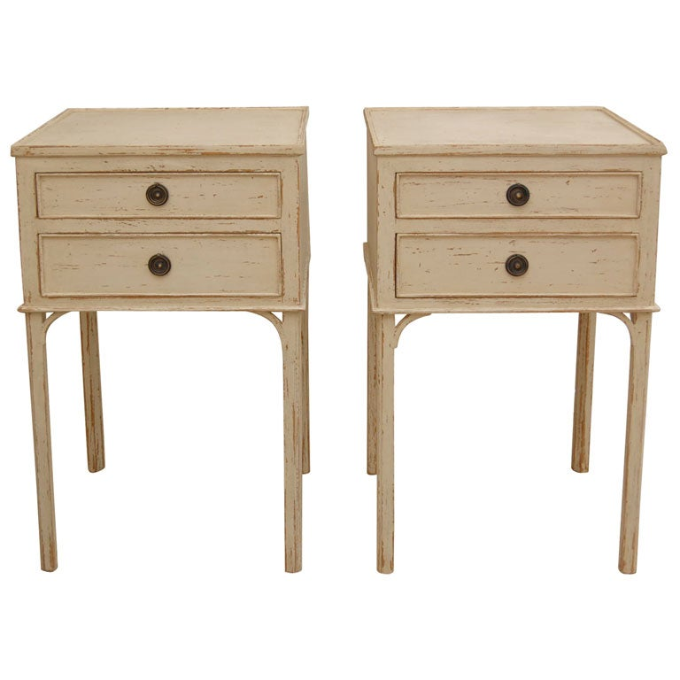 Pair of 2 drawer gustavian style side tables at 1stdibs for Oka gustavian side table