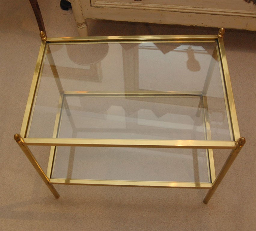 brass and glass end table or small coffee table drinks With small brass and glass coffee tables