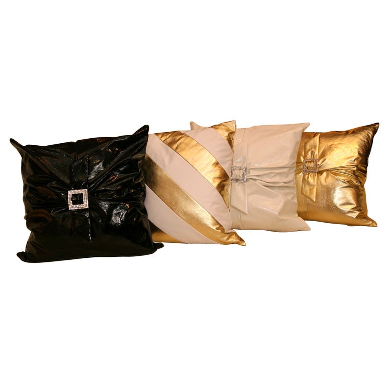Decorative Leather Pillows at 1stdibs