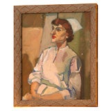 Oil Painting of a Nurse, circa 1950
