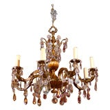 Antique Chandelier Gilt Bronze and Crystal Chandelier