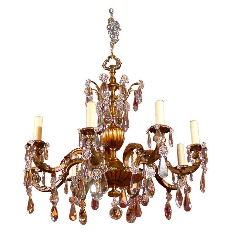 Crystal Chandelier Sale: Antique Chandelier Gilt Bronze And Crystal Chandelier For