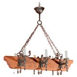 Antique Chandelier Iron and Wood Light Fixture