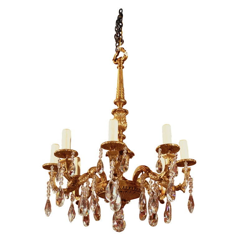 Gilt bronze and crystal chandelier at 1stdibs