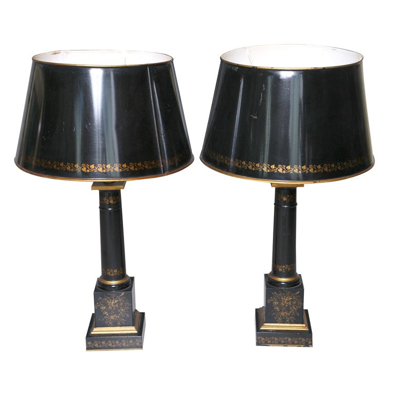 Pair Of Black Tole Lamps With Tole Shades At 1stdibs