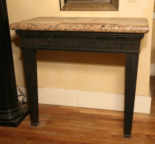 Louis XVI Style Cast Iron Granite Topped Console Table 2
