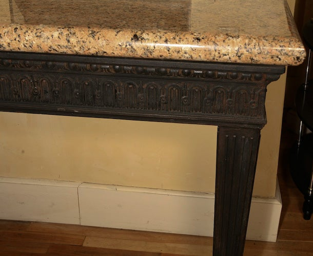 Louis XVI Style Cast Iron Granite Topped Console Table 3