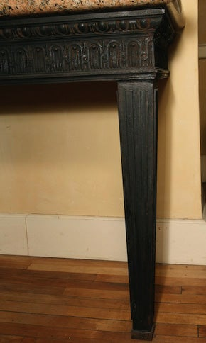 Louis XVI Style Cast Iron Granite Topped Console Table 4