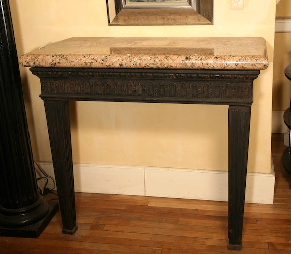 Louis XVI Style Cast Iron Granite Topped Console Table 6