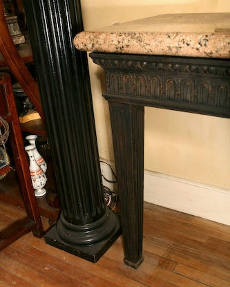 Louis XVI Style Cast Iron Granite Topped Console Table 7
