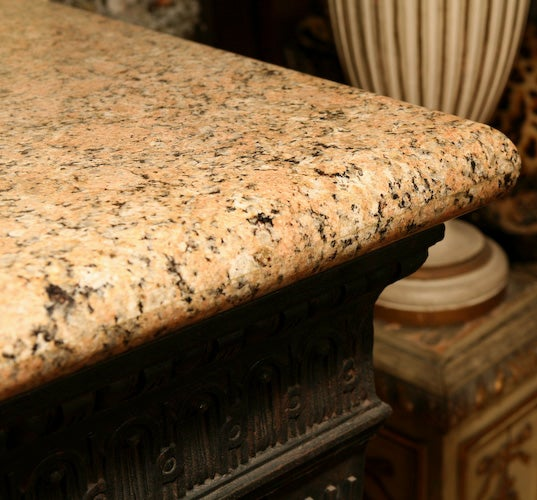 Louis XVI Style Cast Iron Granite Topped Console Table 8