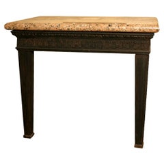Louis XVI Style Cast Iron Granite Topped Console Table