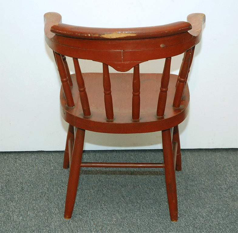 Wood Captain S Chair ~ Early thc low back wooden captain s chair at stdibs