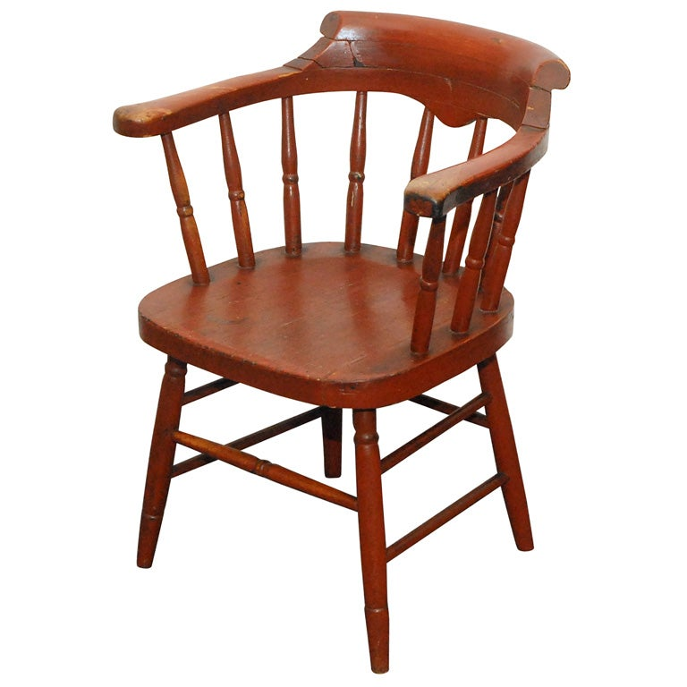 Great EARLY 19THC LOW BACK WOODEN CAPTAINu0027S CHAIR For Sale