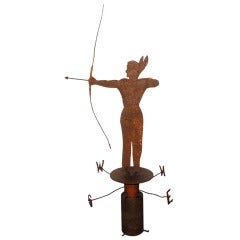 Rare 19th Century Original Painted Iron Indian Weathervane with Stand