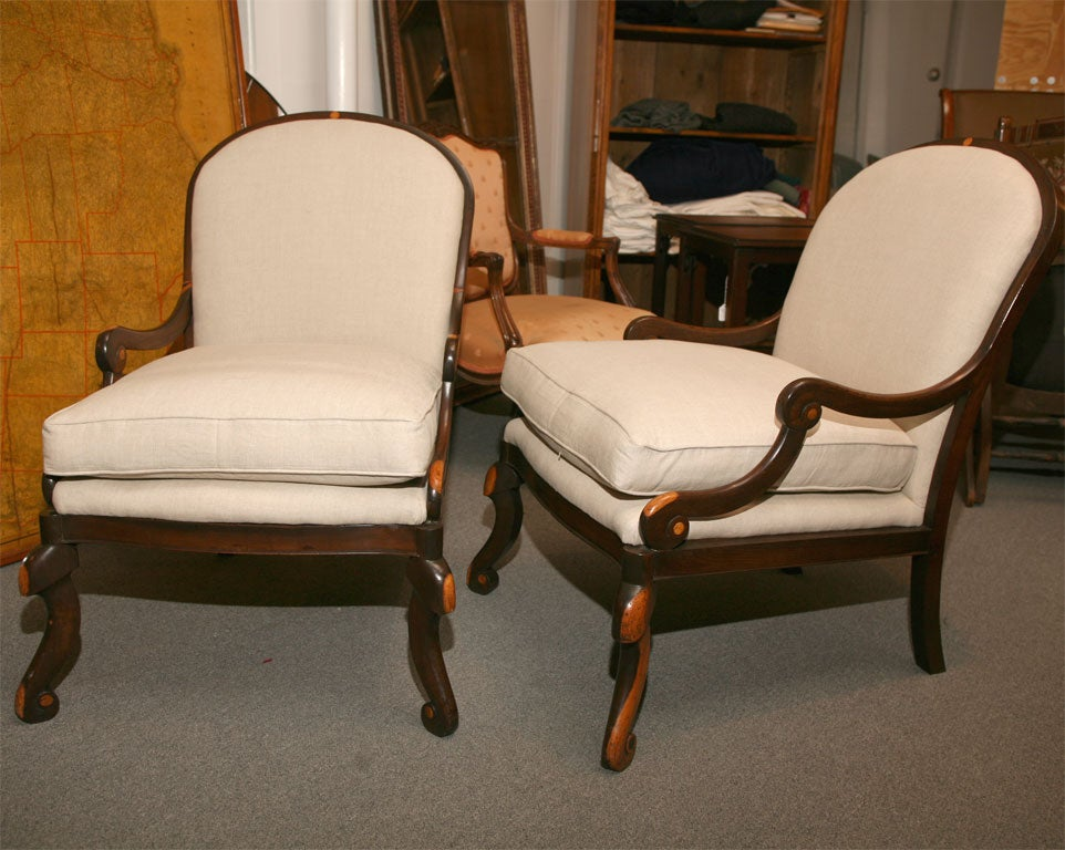 Pair of exotic hard wood cocobolo chairs at stdibs