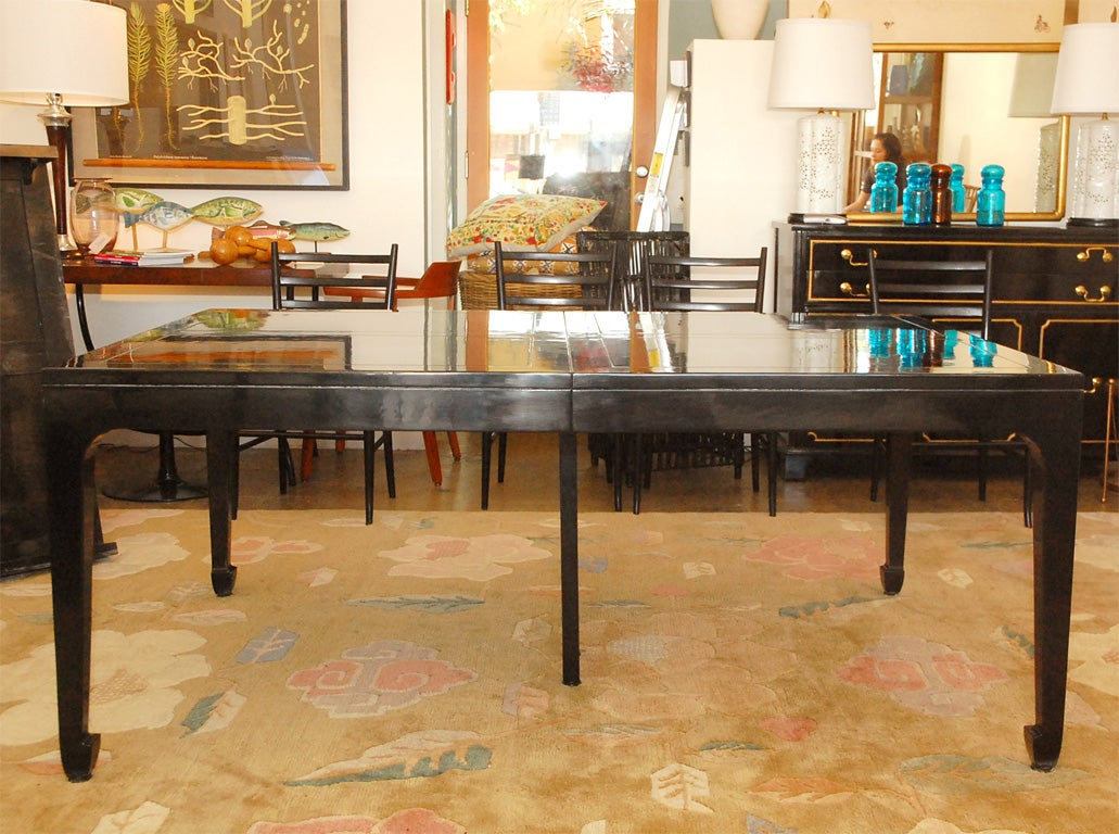 Vintage Baker Asian Inspired Black Lacquered Dining Table