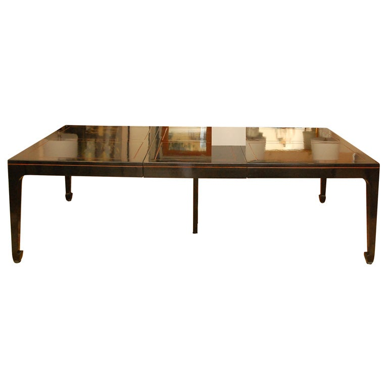 Black Lacquer Dining Room Table: Vintage Baker Asian Inspired Black Lacquered Dining Table