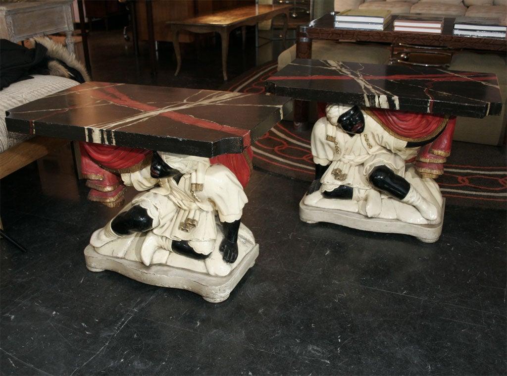 Wood Pair of Blackamoor Tables