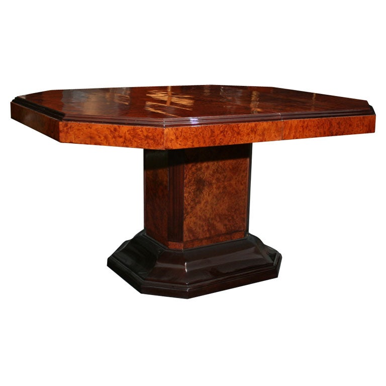 Octagonal art deco extension dining table at 1stdibs - Art deco dining room table ...