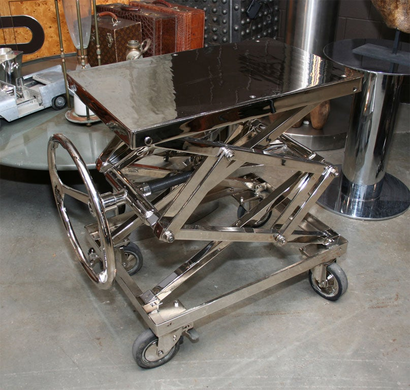 French Stunning Nickel Plated Industrial Lift For Sale