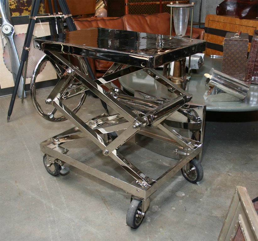 20th Century Stunning Nickel Plated Industrial Lift For Sale