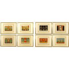 Set of 8 hand painted gauches depicting Pompeii interiors
